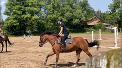 Coboard rider cantering